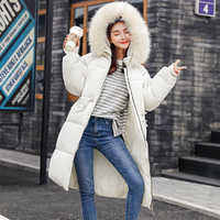 FTLZZ Women Winter Cotton Jacket Coat Warm Hooded Large Fur Collar Long Cotton Down Parkas Casual Female Snow Army Green Coats