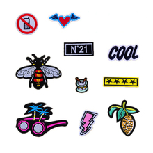New Arrival Fashion Sunglass Wing heart Cool Patches Iron On Or Sew Fabric Sticker For Clothes Badge Embroidered Appliques DIY