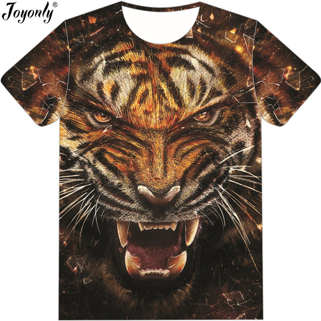 bdd3d7ce Joyonly 3d Angry Tiger Face Tshirts for Boys Girls Cool Animal Kids Fashion  T Shirt,2018 Summer Tee Shirts Children Funny Tops