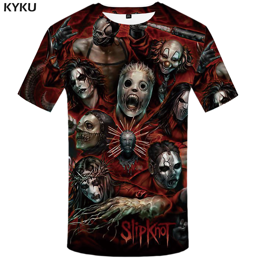 KYKU Slipknot Tshirt Men Band   T     Shirt   Green Hip Hop Tee Streetwear Anime Clothes Character 3d   T  -  shirt   Cool Mens Clothing 2018
