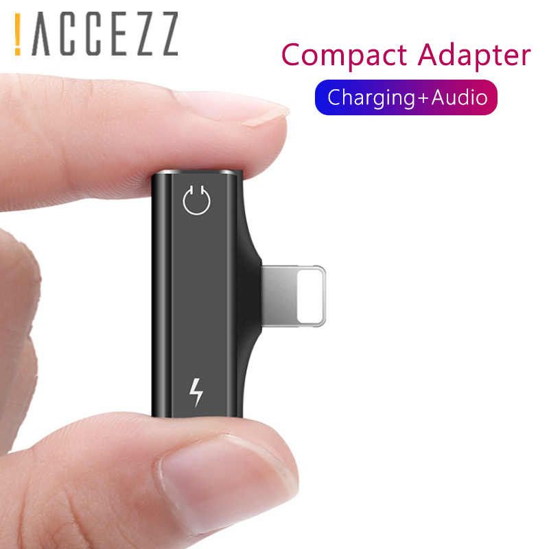 ! ACCEZZ Mini 2 in 1 Dual Verlichting Audio Charger Connector Voor iphone X 8 7 Plus XS MAX XR Lading adapter AUX Splitter Kabel 1.2 M