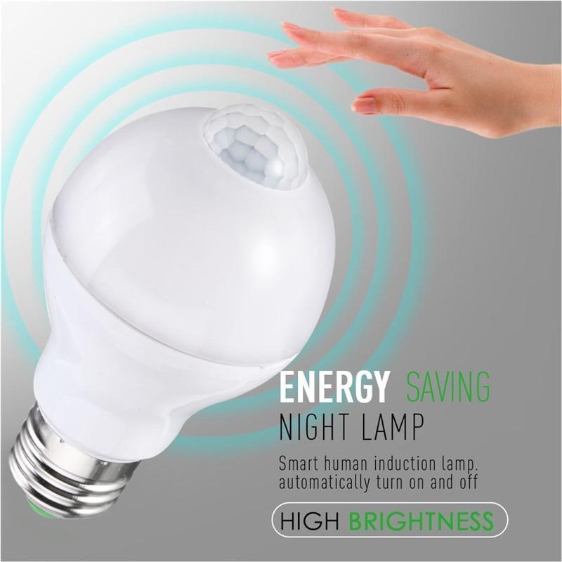 Smuxi E27 B22 Motion Sensor LED Lamp Bulb 5W 7W 12W Smart PIR Sensor LED Light Bulbs Auto On/Off Night Lighting AC85~265V