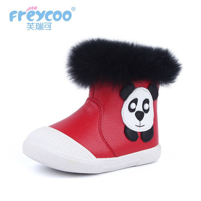 Freycoo 2019 New Fashion Winter Autumn Baby Kids Shoes For Girls Boys Cowskin Genuine Leateher Cotton-padded boots