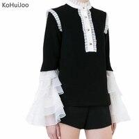KoHuiJoo 2018 Latest Elegant Fashion Blouses Women Flare Sleeve Ruffles Gothic Palace Blouse Long Sleeve Vintage