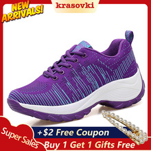 Krasovki Platform Sneakers Women Thick Bottom Breathable Lace Up Color Designer Shoes for Female Dropshipping