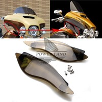 Free Shipping Brand New Smoke ABS Plastic Side Wing Windshield Air Deflectors Fits For Harley Touring