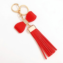 Wholesale Luxury Bowknot Leather Tassel Keychains Car Key Chain Ring Holder Charm Women Bag Mobile Phone Accessories Pendant