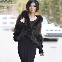 real knitted mink fur shawl scarf for women with natural fur trim fox fur collar sleeve femme spring autumn pashnima and wraps