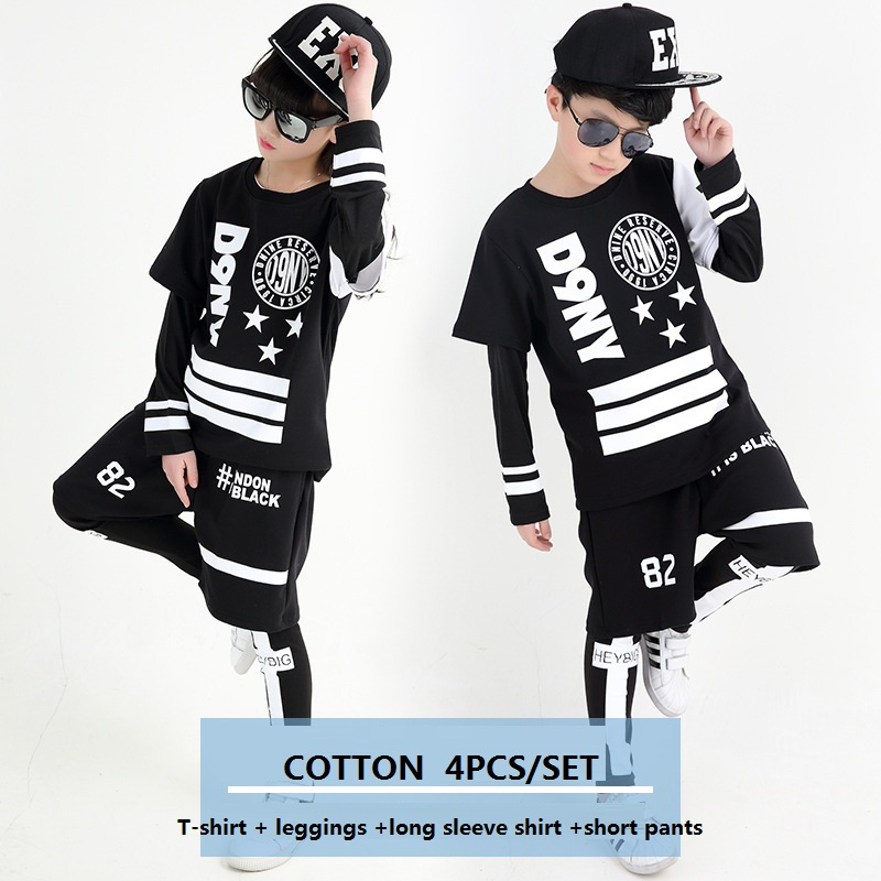 Children Hip Hop Clothing T-shirt + Long Sleeve Shirt +Leggings +Short Pants 4Pcs Set Girls Boys Street Dance Costume Y919