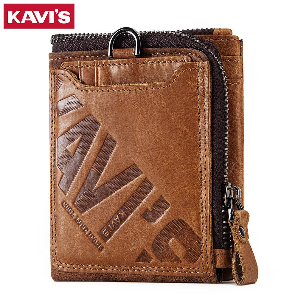 KAVIS Crazy Horse Genuine Leather Men Wallet Coin Purse Male Cuzdan Portomonee PORTFOLIO Card Holder Small Pocket Money Bag