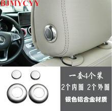 BJMYCYY Reposacabezas Del Coche de Metal Botón de Ajuste de la Cubierta Decoración Para Mercedes Benz C Class C180 C200 C260 W205 2015 2016 Accesorios