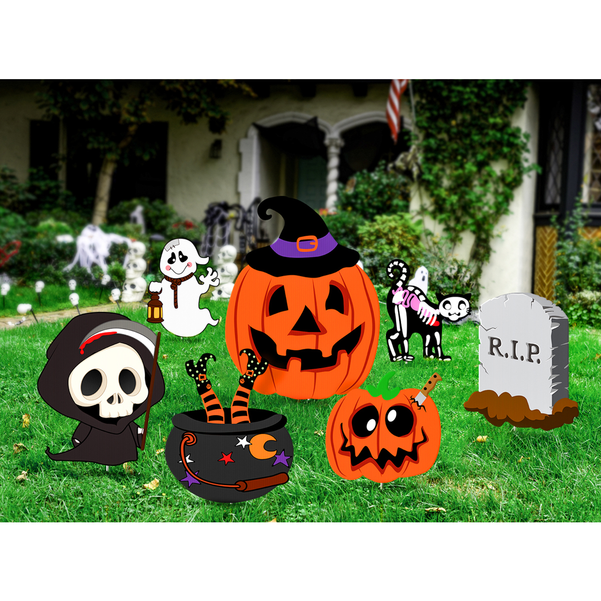 Halloween Yard.Us 18 21 36 Off Unomor 7pcs Halloween Yard Stakes Set Outdoor Lawn Decorations Garden Landscape Decoration Holiday Party Halloween Scary Items In