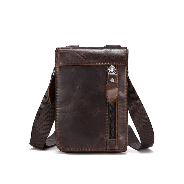 18b1668ee7f3 Vintage Small Genuine Leather Bag Full Grain Leather Men messenger Bags  Mobile bag Casual Waist packs