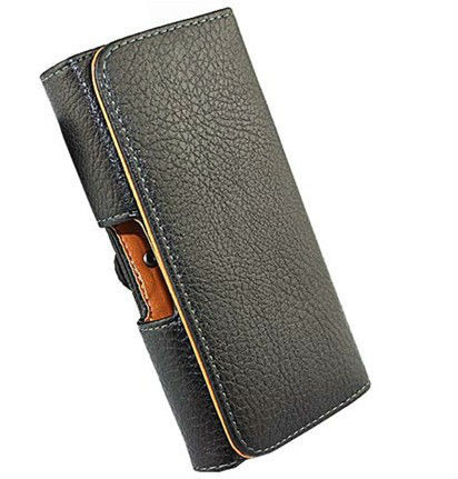 Black Waist to hang Lichee smooth pu Leather Pouch Holster belt clip for Philips Xenium i908 case phone case