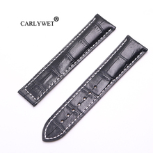 CARLYWET 20 22mm Wholesale Black With white Stitches High Quality Genuine Leather Replacement Watch Band Strap Belt For Omega