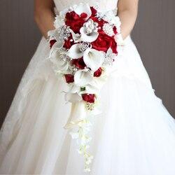 2018 neue Wasserfall Rot Hochzeit Blumen Braut Bouquets Künstliche Perlen Kristall Hochzeit Bouquets Bouquet De Mariage Rose