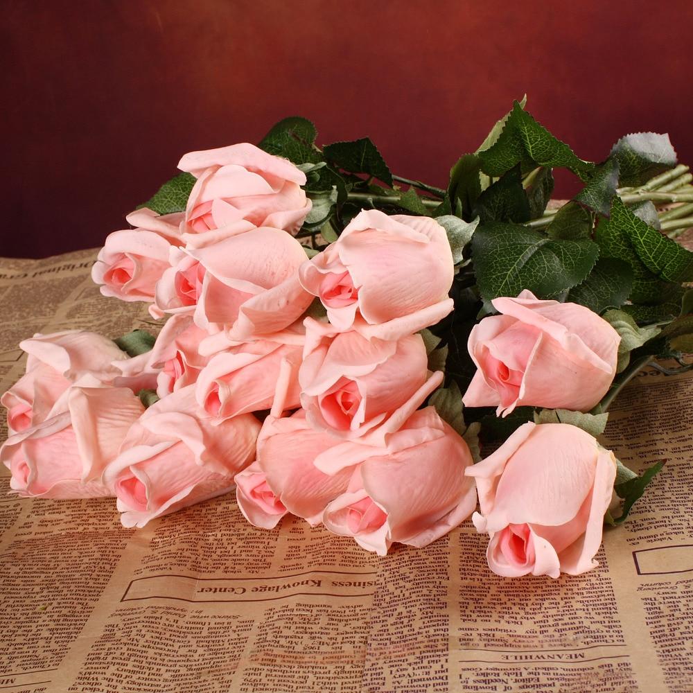 20 unids / set Flores Artificiales Flores de Látex Flores Blancas Táctiles Reales Ramo de Boda Fiesta en Casa Fiesta Decorativa Flores