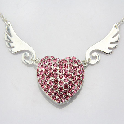 wholesale DHL pendrives hear usb stick angle wing usb flash drive bulk crystal pen drive jewelry necklace 10pcs/lot