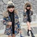 2016 зимние Девушки Дети мальчики Камуфляж ковбой меховым воротником с капюшоном пальто хлопка комфортно милый ребенок Одежда Детей Одежда 15 Вт