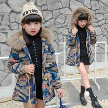 2016 winter Girls Kids boys Camouflage cowboy fur collar hooded cotton coat comfortable cute baby Clothes Children Clothing 15W