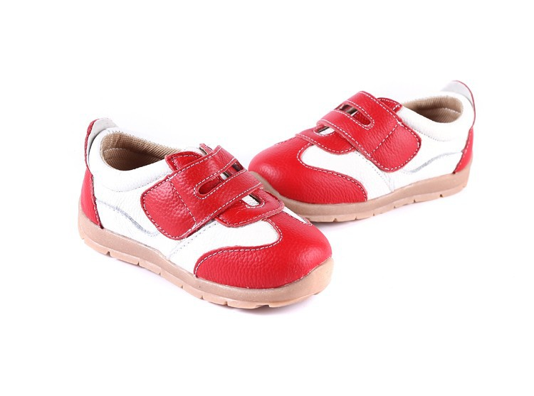 SandQ baby Boys sneakers soccers shoes girls sneakers Children leather shoes pink red black navy genuine leather flexible sole 18