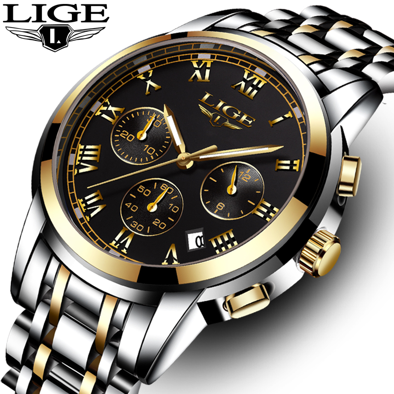 LIGE Men watches Fashion Brand Multifunction Chronograph Quartz Watch men Military Sport Wristwatch Male Clock Relogio Masculino new listing men watch luxury brand watches quartz clock fashion leather belts watch cheap sports wristwatch relogio male gift