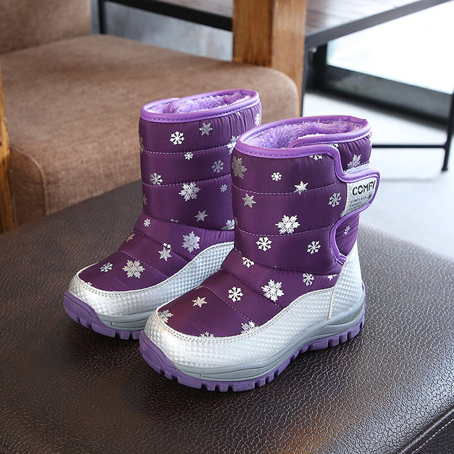 3fe52ee064a29 US $16.99 40% OFF AFDSWG kids winter shoes black snow boots for girls  purple rose red kids boots boys blue snow boots children kids leather  boots-in ...