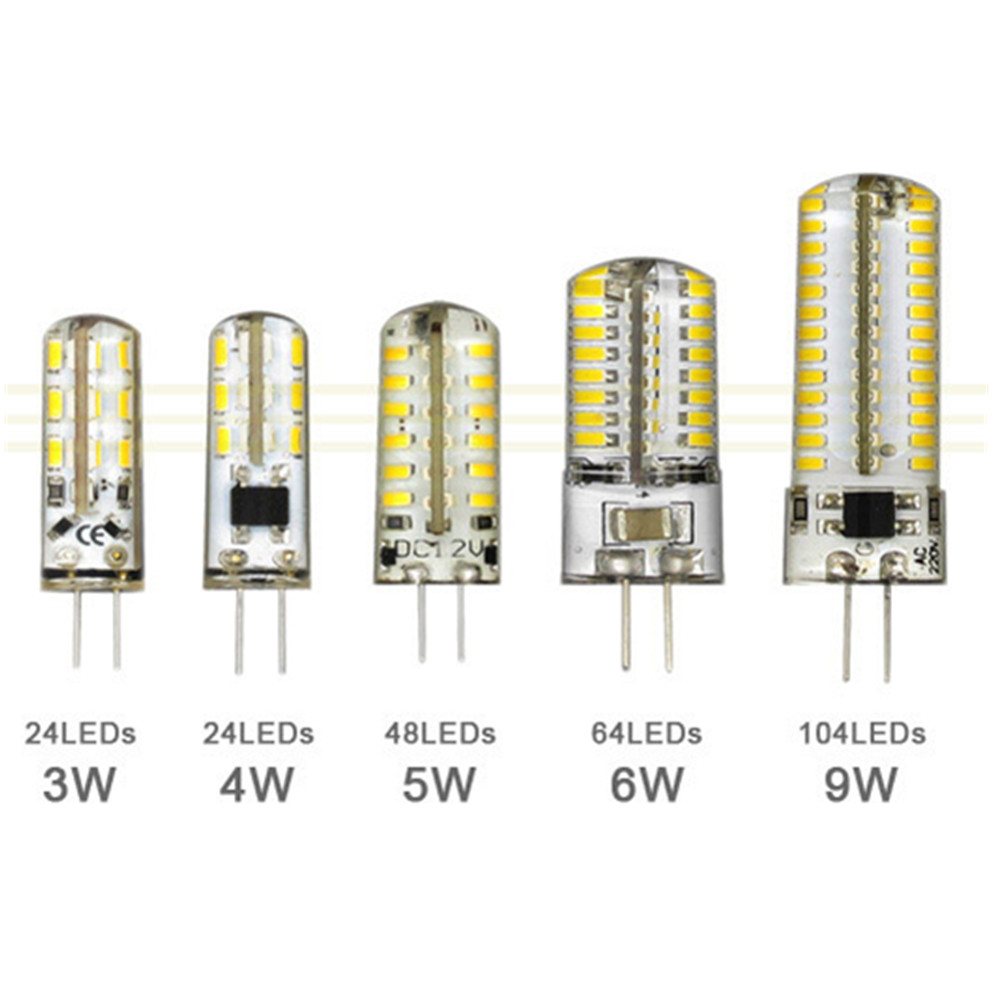 3W 4W 5W 6W <font><b>9W</b></font> SMD3014 <font><b>G4</b></font> <font><b>LED</b></font> Lamp DC <font><b>12V</b></font>/ AC 220V Silicone Bulb 24/32/48/64/104 <font><b>LEDs</b></font> replace 10W 30W 50W Halogen Light image