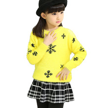 цена на Girls Sweater 2018 New Winter Girls Long Sleeve Knitted Pullover Clothes Autumn Fashion Children Sweaters 4 6 8 10 12 13 Years