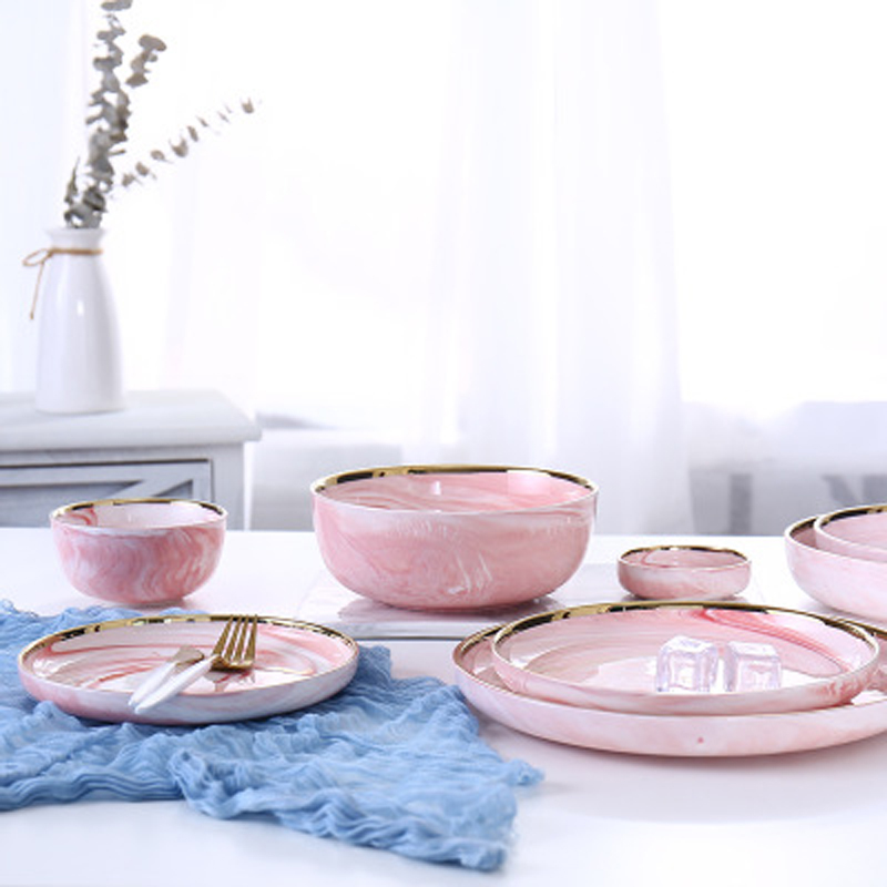 1pc Pink Marble Ceramic Dinner Dish Plate Rice Salad Noodles Bowl Soup Plates Dinnerware Sets Tableware