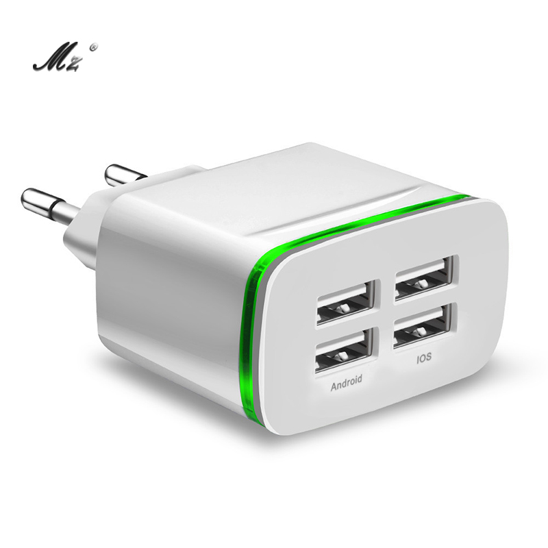 4Ports USB Charger Universal Mobile Phone Wall USB Charger Adapter For iPhone iPad Samsung Xiaomi Tablet Charging Device