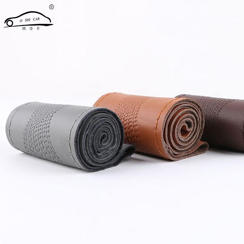 Funda Universal de cuero genuino para volante de coche funda de piel de serpiente patrón de piel de vaca volante trenza con aguja e hilo