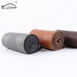 Universal tampa da roda de direcção do carro do couro genuíno padrão de pele de cobra couro de direção-roda envoltório braid com agulha e linha