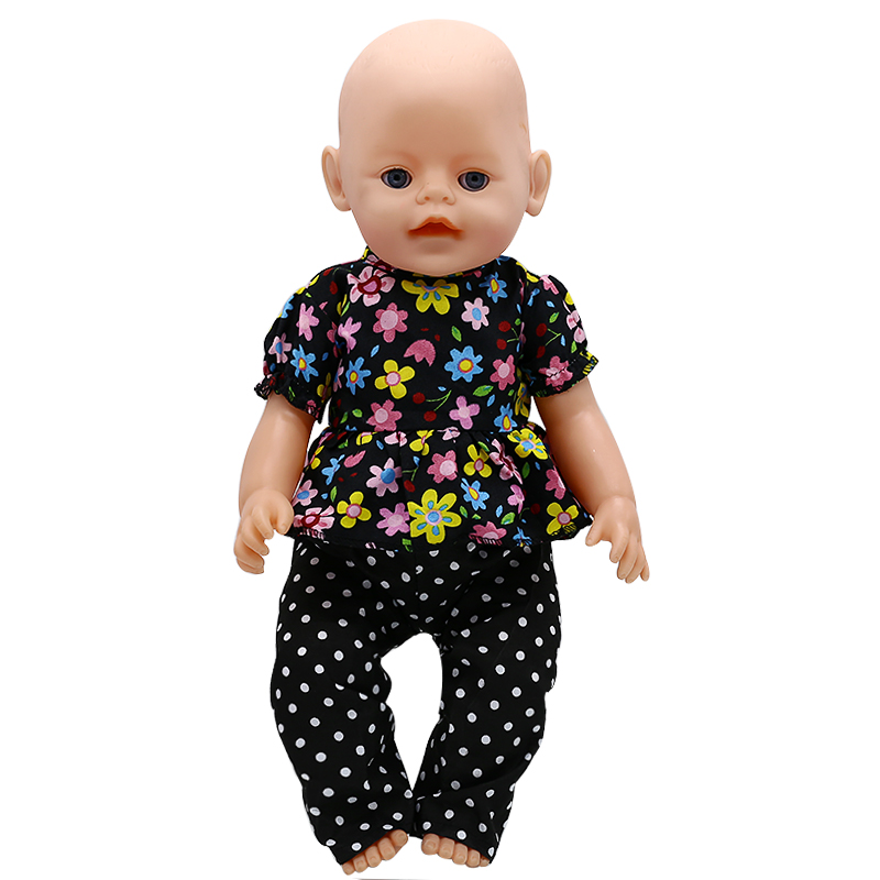 Zapf Baby Born Doll Clothes Floral Shirt + Trousers Suit Fit 43cm Zapf Baby Born Doll Accessories Girl Gift X-186 drop shipping rose christmas gift 18 inch american girl doll swim clothes dress also fit for 43cm baby born zapf dolls
