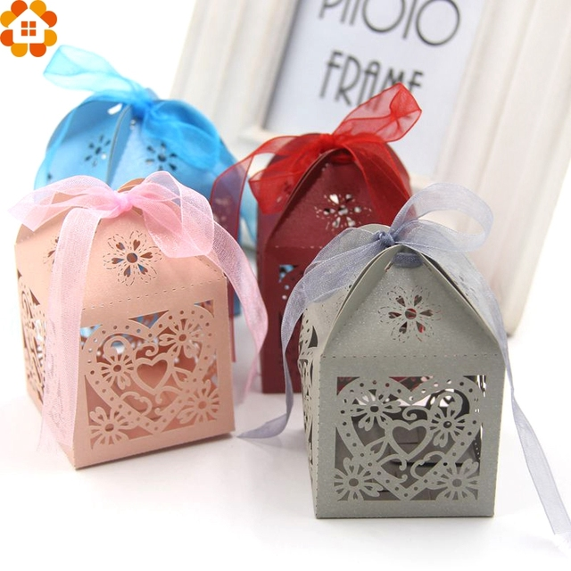 10PCS Hollow Love Heart Candy Boxes Candy Bags Favor