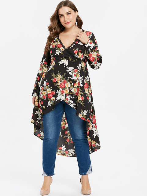 Wipalo Women Plus Size 5XL High Low Hem Floral Print Surplice Longline  Blouse Casual Autumn Asymmetric 666ad2bc708e