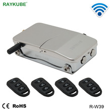 RAYKUBE Electronic Door Lock With Remote Control Keys Opening Invisible Intelligent Lock Wireless Keyless Door Lock R W39