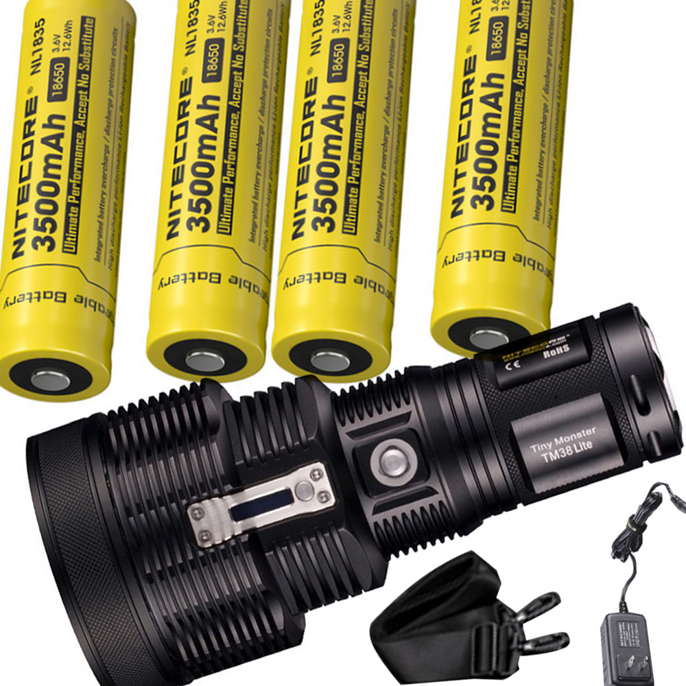 NITECORE TM38 Lite Rechargeable Flashlight CREE XHP35 HI D4 MAX.1800LM Outdoor Torch Search light with 4pcs 18650 battery