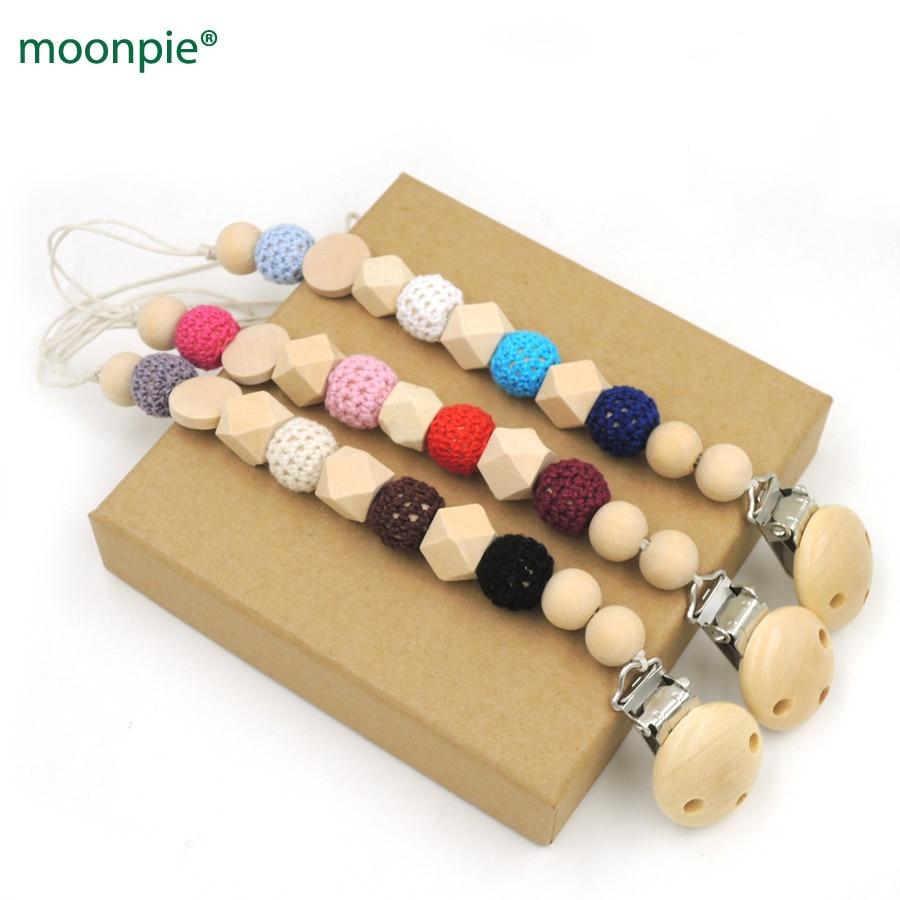 Gradient Baby Pacifier Clip Dummy Holder Cotton Chain Wooden Beads Crochet