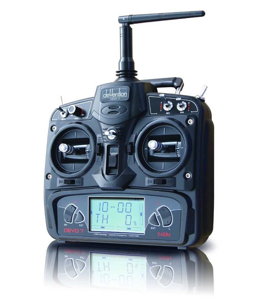 Walkera Devo 7 Transmiter 7 Channel DSSS 2.4G Transmitter + RX701 Receiver for Walkera Helis Helicopter walkera devo f12e specialized fpv 32 channel telemetry radio 5 8ghz 12 channel lcd screen free ship