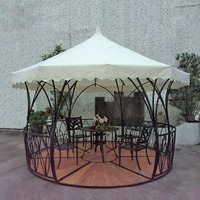 Dia 3.5 luxury meter steel iron rattan outdoor gazebo tent patio pavilion canopy for garden beige sun shade furniture house