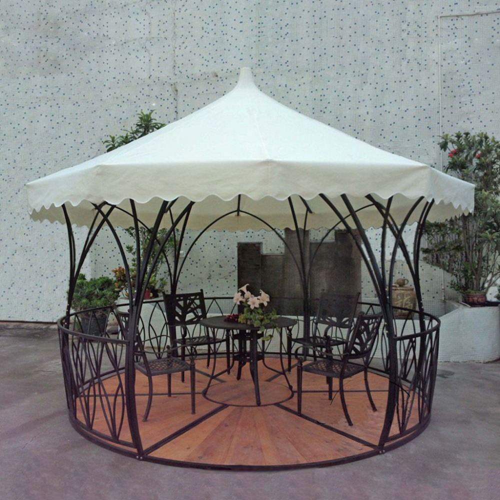 Dia 3.5 luxury meter steel iron rattan outdoor gazebo tent patio pavilion canopy for garden beige sun shade furniture house esspero canopy