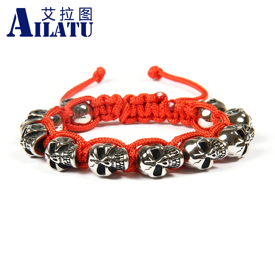 Ailatu Top Quality Jewelry Wholesale 10pcs lot Top Quality Stainless Steel Skull Skeleton Macrame Bracelets for