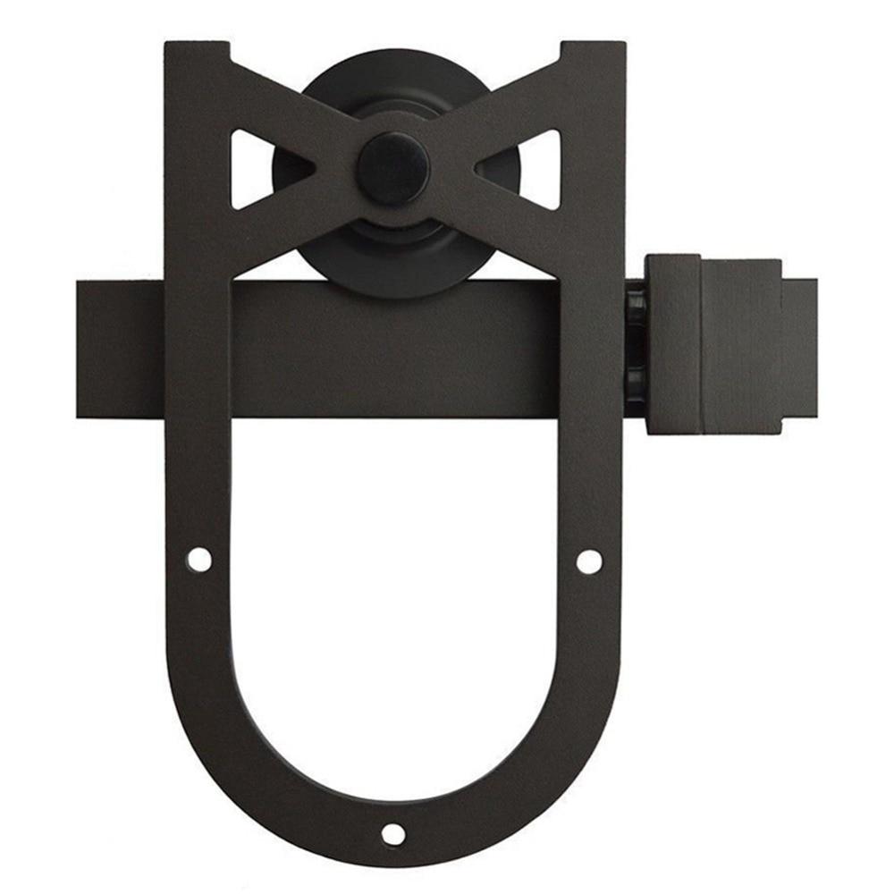 4.9FT/6FT/6.6FT en acier au carbone noir rustique Fer À Cheval coulissante grange quincaillerie de porte piste pour porte coulissante - 2