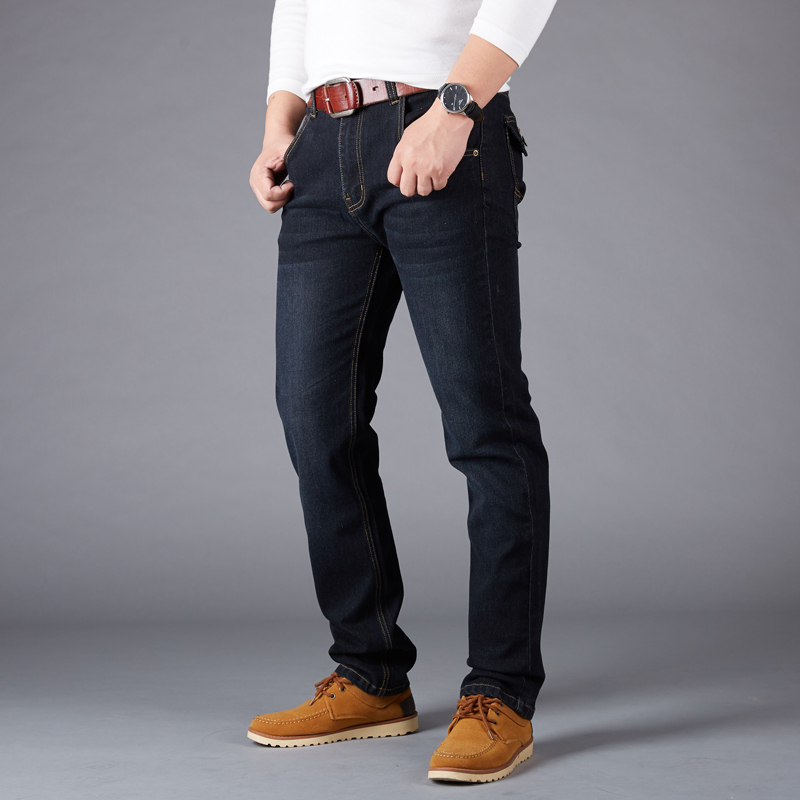 2017New Men Business Casual Thin Slim Fit Blue Jeans Stretch Denim Pants Trousers Classic Cowboys Young Man Jeans