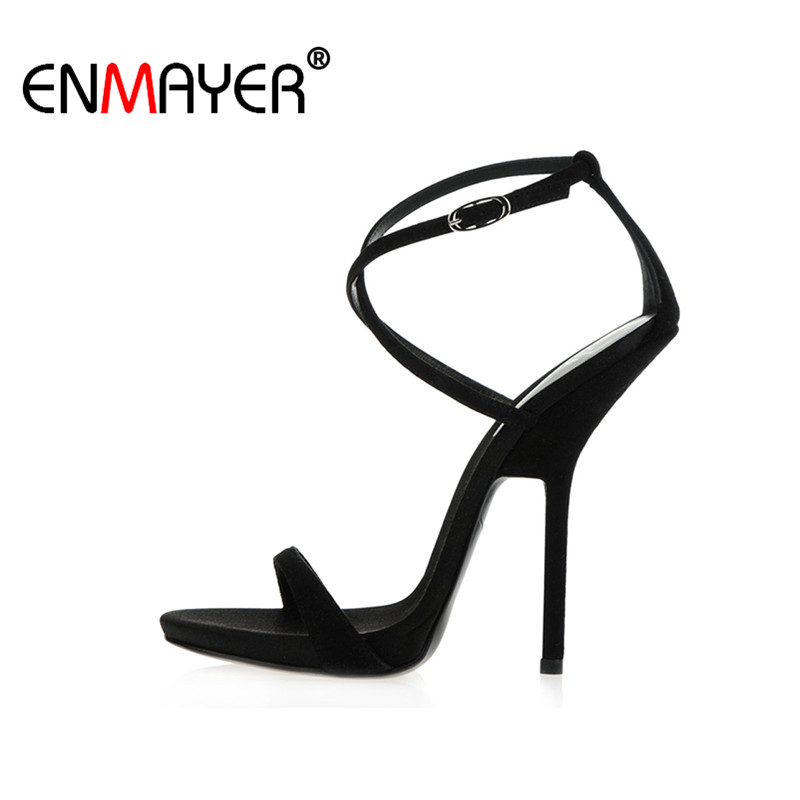 ENMAYER Extreme High Heels Flock Round Toe Buckle Platform Black Shoes Sandals Hot Fashion Summer Women Pumps for Party Wedding nayiduyun summer wedge high heels women casual platform pumps round toe breathable summer sneakers sandals school shoes chic