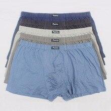 5 pçs/lote grande solto masculino algodão underwears boxer shorts calcinha de cintura alta respirável cintos de gordura grandes jardas dos homens mais tamanho