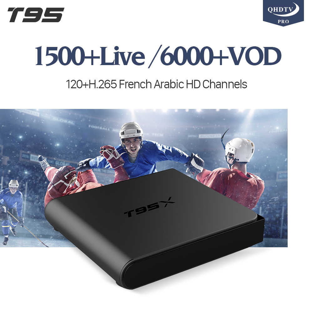 T95X Smart TV Box Android 6.0 8GB Amlogic S905X Quad Core H.265 4K WiFi Media Player QHDTV PRO Code IP TV Arabic French IPTV Box