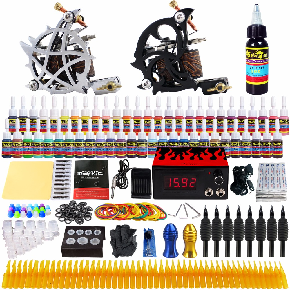 Solong Tattoo complete professional 2 tattoo Machine Guns set Tattoo Kit 54 Inks Power Supply Needle Grips power supply TK230 europe god of darkness robert recommend gp self lock grips gp3 professional tattoo artist grip