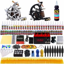 Solong Tattoo complete professional 2 tattoo Machine Guns set Tattoo Kit 54 Inks Power Supply Needle Grips power supply TK230 недорого